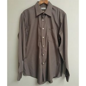 Van Heusen Fitted Brown Button-down Shirt
